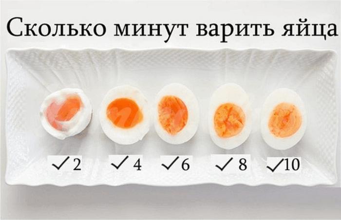 На фото Сколько минут варить яйца