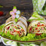 Рецепт Рулет из лаваша с ветчиной и овощами