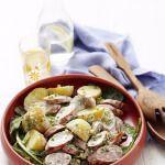 Рецепт Теплый салат из картофеля и сосисок