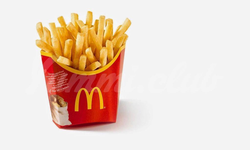 На фото Картофель-фри в МакДональдсе не вегетарианский