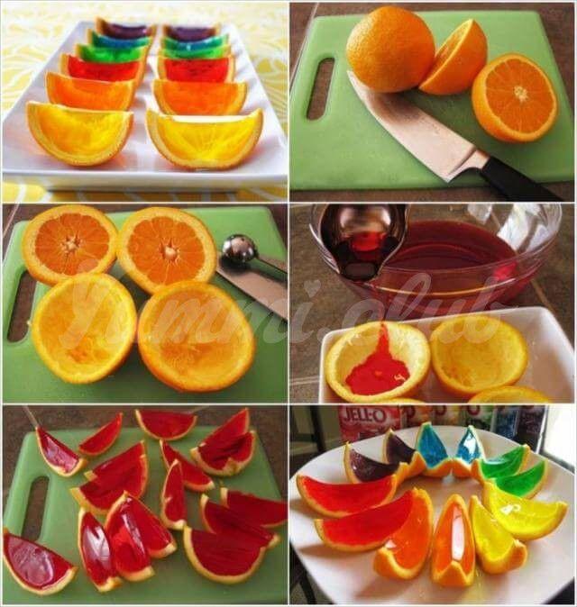 Яркое желе с фруктами.