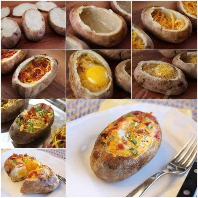 Запеченный картофель с яйцом, сыром и овощами.