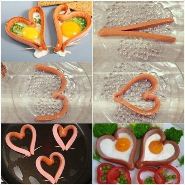 Романтический завтрак для двоих с сосисками и яичницей-глазуньей.