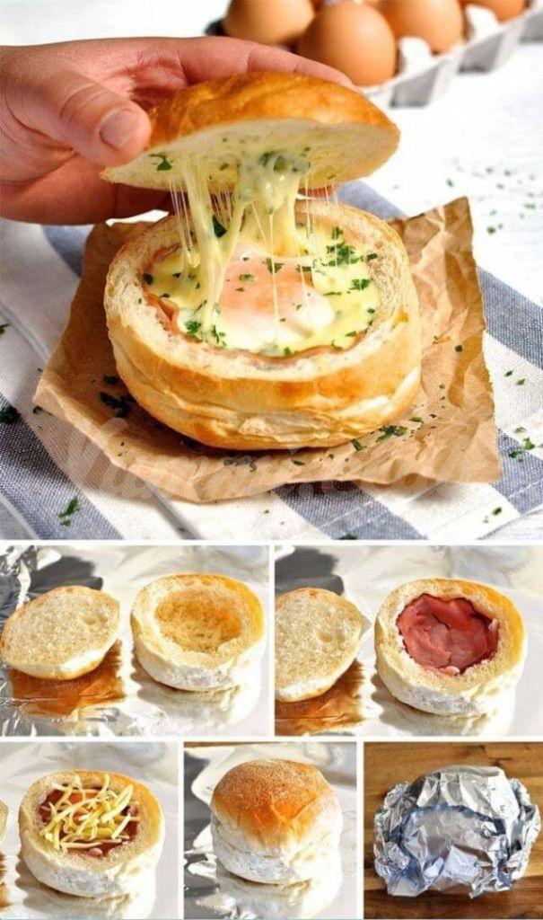 Сэндвич с яйцом, беконом и сыром.