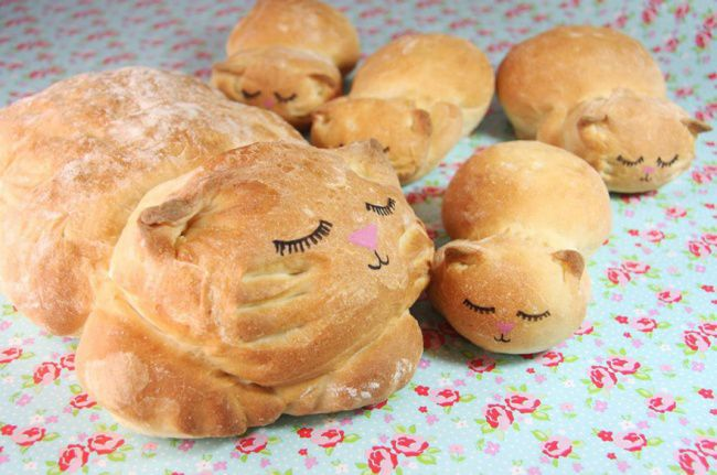 На фото Хлеб для любителей котиков