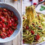 Рецепт Паста с цукини, помидорами черри и соусом из базилика