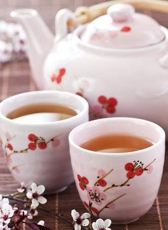 Mandatory Credit: Photo by Monkey Business Images/REX (1400573a) Green tea set with teapot and cups VARIOUS