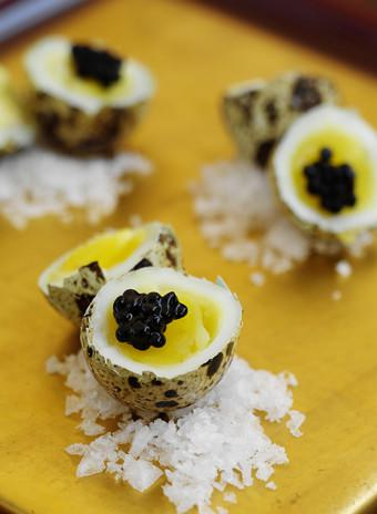 Mandatory Credit: Photo by Food and Drink/REX (2502426a) Quail eggs, caviar Food and Drink