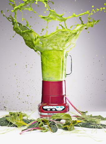Mandatory Credit: Photo by OJO Images/REX (1249740a) Vegetable juice splashing from blender VARIOUS