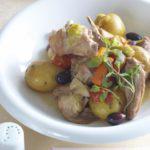 Рецепт Жаркое из кролика с овощами и оливками