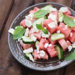 Рецепт Арбузный салат с огурцом и сыром фета