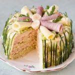 Рецепт Круглый торт-корзина с ветчиной и сыром