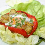 Рецепт Фаршированный перец в духовке с картофелем и яйцом