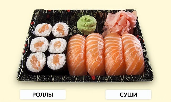 На фото В чем различие: Суши и роллы