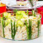 Рецепт Любимый салат «Оливье» со свежим огурцом и языком