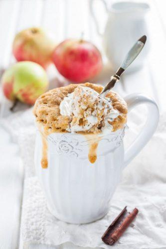 На фото Яблочный кекс с корицей в кружке